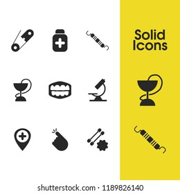 Healthcare icons set with pin, ear wand with sticks, dentist tool elements. Set of healthcare icons and mouth concept. Editable vector elements for logo app UI design.