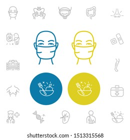 Healthcare icons set with plaster, pelvis and face mask elements. Set of healthcare icons and smell concept. Editable vector elements for logo app UI design