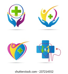 Healthcare icons vector design represents hospital logos, signs and symbols.