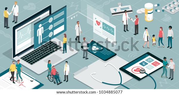 Healthcare and innovative technology: apps for medical exams and online consultation concept