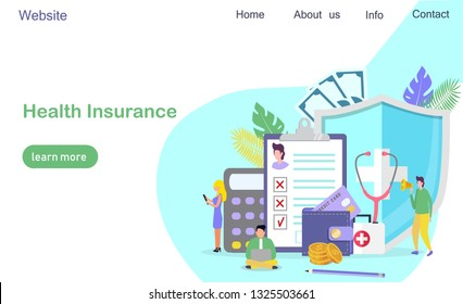 Healthcare insurance vector concept, people with doctor fill health online form insurance. It can be used for landing page, template, ui, web, mobile app, poster, banner, flyer.