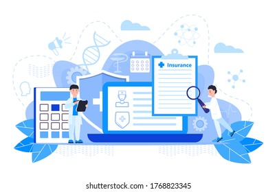 Healthcare insurance vector concept, people with doctor fill health online form insurance. Help agent service for calculate insurance bill. it can used for landing page, ui, web, mobile app.
