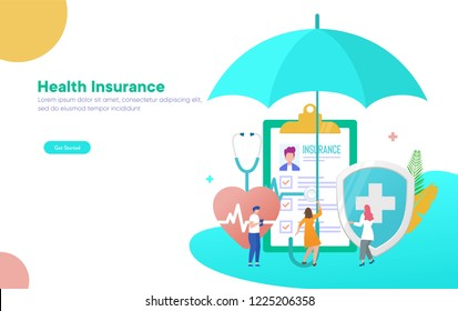 Healthcare insurance vector illustration concept, people with doctor fill health form insurance,  can use for, landing page, template, ui, web, mobile app, poster, banner, flyer