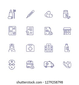 Healthcare line icon set. Thermometer, pharmacy, pills. Medicine concept. Can be used for topics like medication, self care, treatment