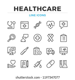 Healthcare line icons set. Modern outline elements, graphic design concepts, simple symbols collection. Vector line icons
