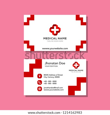 Healthcare logo and business card template. Logotype for clinic, medical center. Vector illustration in flat style.