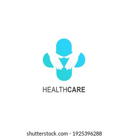 Healthcare logo. Suitable for your health care company. Healthcare medicine minimalist and flat stylish design vector logo sign. Medical love pharmacy logo. Logotype for clinic, hospital or doctor.