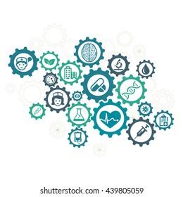 Healthcare mechanism concept illustration