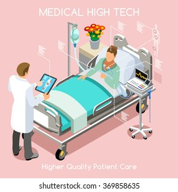 Healthcare medic Fast Diagnosis. Clinic Hospital Infographic Patient Bed & Doctor tablet medic consult interview Drug Medicine Treatment Check. Medical Healthcare 3D Flat Isometric People Vector Image