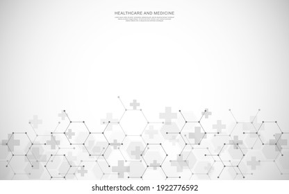 Healthcare medical background with hexagons pattern and crosses. Vector illustration for health care and medicine design, pharmaceutical manufacturing, and industry.