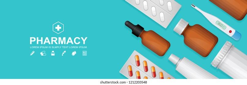 Healthcare and medical bottles set medicine website banner, pharmaceutics for pharmacy and drugstore online vector illustration