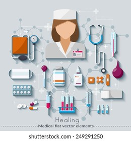 Healthcare and medical concept. Healing set in flat style. Vector illustration