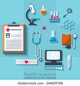 Healthcare and medical concept. Medical research set in flat style/