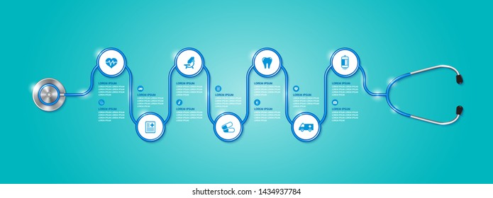Healthcare and medical concept stethoscope and flat icons in medicine, health, cross decoration for flyers, poster, web, banner, and card vector illustration