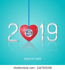 Healthcare and medical concept stethoscope and heart checkup for happy and healthy new year 2019. wishing you stay in good health. vector illustration