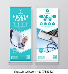 Healthcare and medical and flat icons roll up design, standee and banner template decoration for exhibition, printing, presentation and brochure flyer concept vector illustration