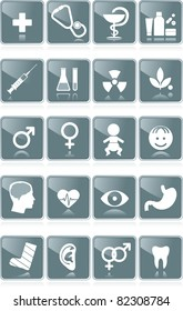 Healthcare medical icons - Medicine, Laboratory, Pharmacology, Homeopathy, Gynecology, Pediatrics, Neurology, Cardiology, Ophthalmology,  Gastroenterology, Orthopedics, Radiology, Sexology, Dentistry
