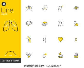 Healthcare and medical line icons collection, editable strokes. For mobile concepts and web apps. Vector illustration, clean flat design