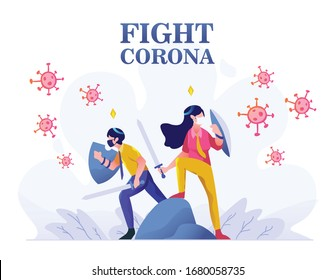 Healthcare medical man and woman protect and fight corona, covid 19 shielding, defending people character flat design gradient style Vector Illustration