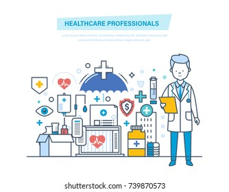 Healthcare medical professionals. Medical doctor, nurses, staff people. Healthcare, medical help, diagnostics, analysis. Institution, hospital clinic Illustration thin line design of vector doodles