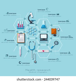 Healthcare and medical research infographic set. Flat style.