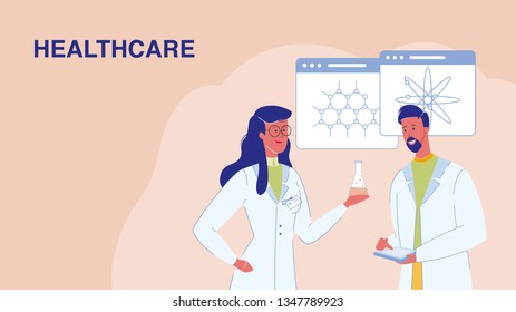 Healthcare, Medical Research Vector Web Banner. Woman Holding Flask with Liquid. Treatment. Doctors, Scientists. Laboratory Testing. Molecules, Atoms Models. Biologists, Chemists Characters