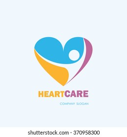 Healthcare & Medical symbol with heart shape.Heart Care logo,vector logo template.Vector illustration