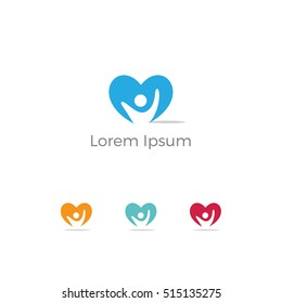 Healthcare & Medical symbol with heart shape.Heart Care logo, heart people vector logo template. people heart Vector illustration