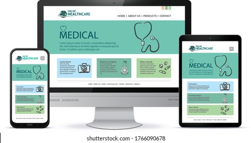 Healthcare and Medical User Interface Design for Web Site and Mobile App. Desktop Computer Monitor, Tablet PC and Mobile Phone Vector Illustration.