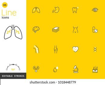 Healthcare and medical yellow line icon collection, editable strokes. For mobile concepts and web apps. Vector illustration, clean flat design