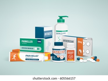 Healthcare, medicine and drug types, pharmaceutical packaging