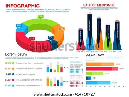 Healthcare Medicine Infographics Pie Chart Bar Stock Vector Royalty