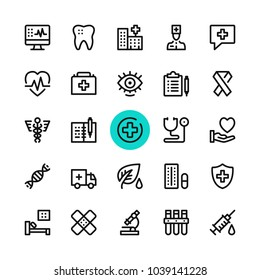 Healthcare, medicine, medical line icons set. Modern graphic design concepts, simple outline elements collection. 32x32 px. Pixel perfect. Vector line icons