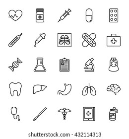 Healthcare, medicine, medical tools. Set of vector icons. Outline style
