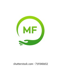Healthcare MF initial logo designs template, Modern MF initial Care with hand symbol vector