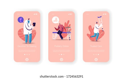 Healthcare Mobile App Page Onboard Screen Template. Tiny Man Character with Leg Fracture Stand on Crutches Visit Orthopedy or Podiatry Clinic with Doctor Concept. Cartoon People Vector Illustration
