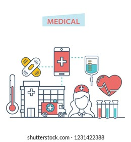Healthcare mobile app. Mobile service. Medical healthcare, mobile consultant. Diagnosis diseases, patient care, online medical consultation, service. Illustration thin line design of vector doodles