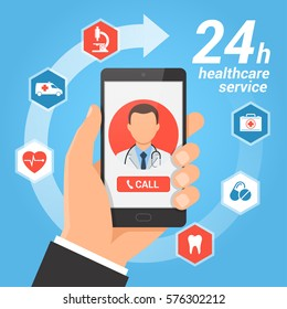 Healthcare mobile service concept. Hand holding smartphone with male doctor on the screen. Vector illustration.