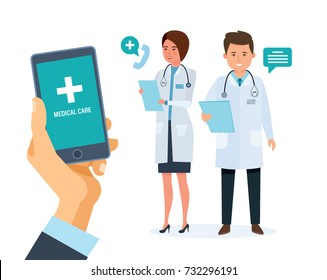 Healthcare mobile service. Medical health care and medicine mobile consultant. Hand holding smartphone with mobile application. Man using smartphone to call the doctor. Illustration vector isolated.