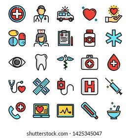 healthcare pixel perfect  color line icons, vector line editable stroke