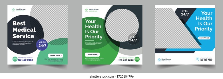 Healthcare post template. Medical promotion square web banner. Social media healthcare post. Special offer banner. Medical vector template