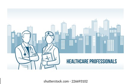 Healthcare professionals banner with skyline urban background