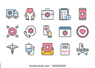 Healthcare related color line icon set. Emergency colorful linear icons. Hospital and medical care flat color  outline vector signs and symbols collection.