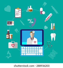 Healthcare Related Objects. Colorful Medical Infographics Icons Set. Digital background vector illustration.