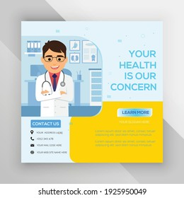 Healthcare social media post template design vector.