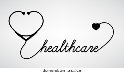 Healthcare - stethoscope with heart icon. Medical concept, vector