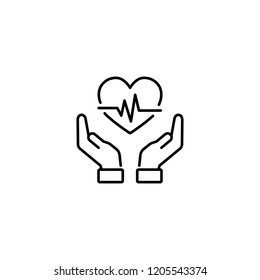 healthcare symbol; hands holding heart sign; line black icon on white background