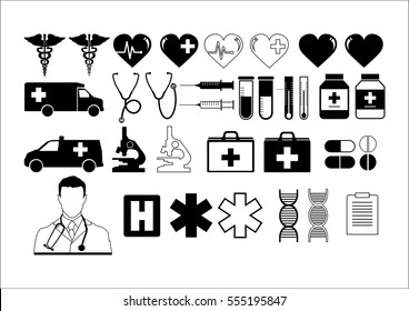 Healthcare symbols. Modern linear style vector concept, with connected flat design icons. Vector or illustration for medical, health, care, medicine, network and global concepts