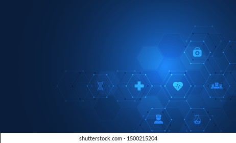 Healthcare and technology concept with flat icons and symbols. Template design for health care business, innovation medicine, science background, medical research. Vector illustration