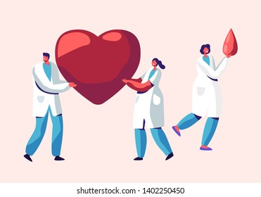 Healthcare, Transplantation, Blood Donation Male and Female Characters in Medical Uniform, Doctors, Nurses Carry Huge Heart and Blood Drop in Hands. Donor Charity Cartoon Flat Vector Illustration